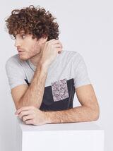 Tee-shirt poche imprimée coton issu de l'agricultu