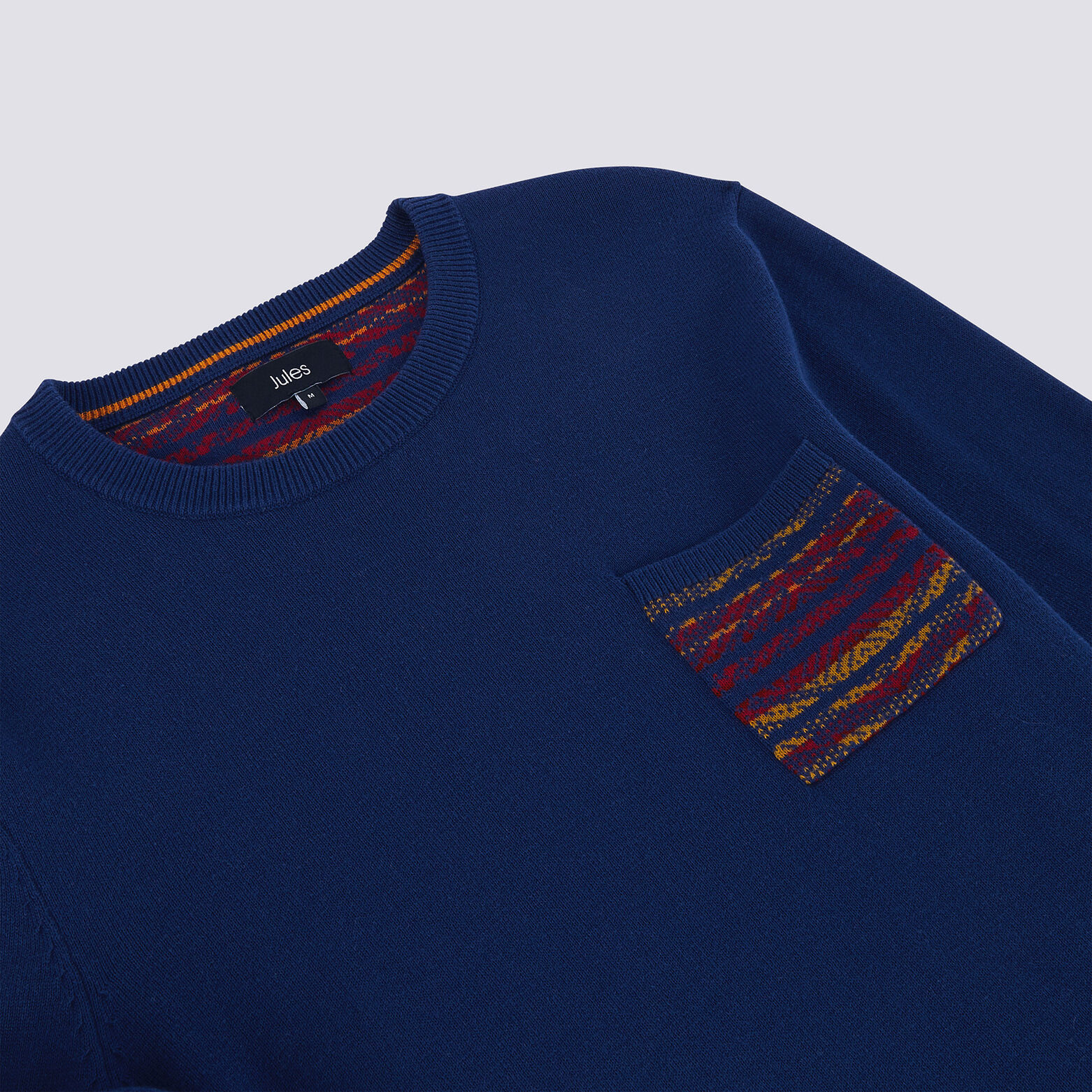 Pull jersey poche Jacquard