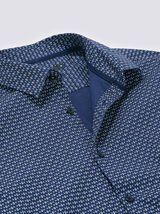Chemise slim motif géométrique coton
