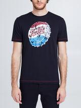 Tee shirt col rond uni imprimé Pepsi Cola