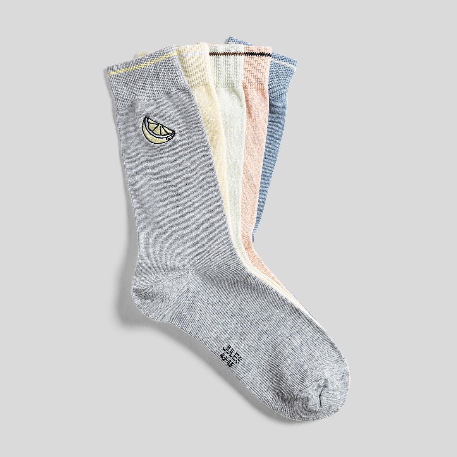 Lot de 5 paires de chaussettes avec broderie coton