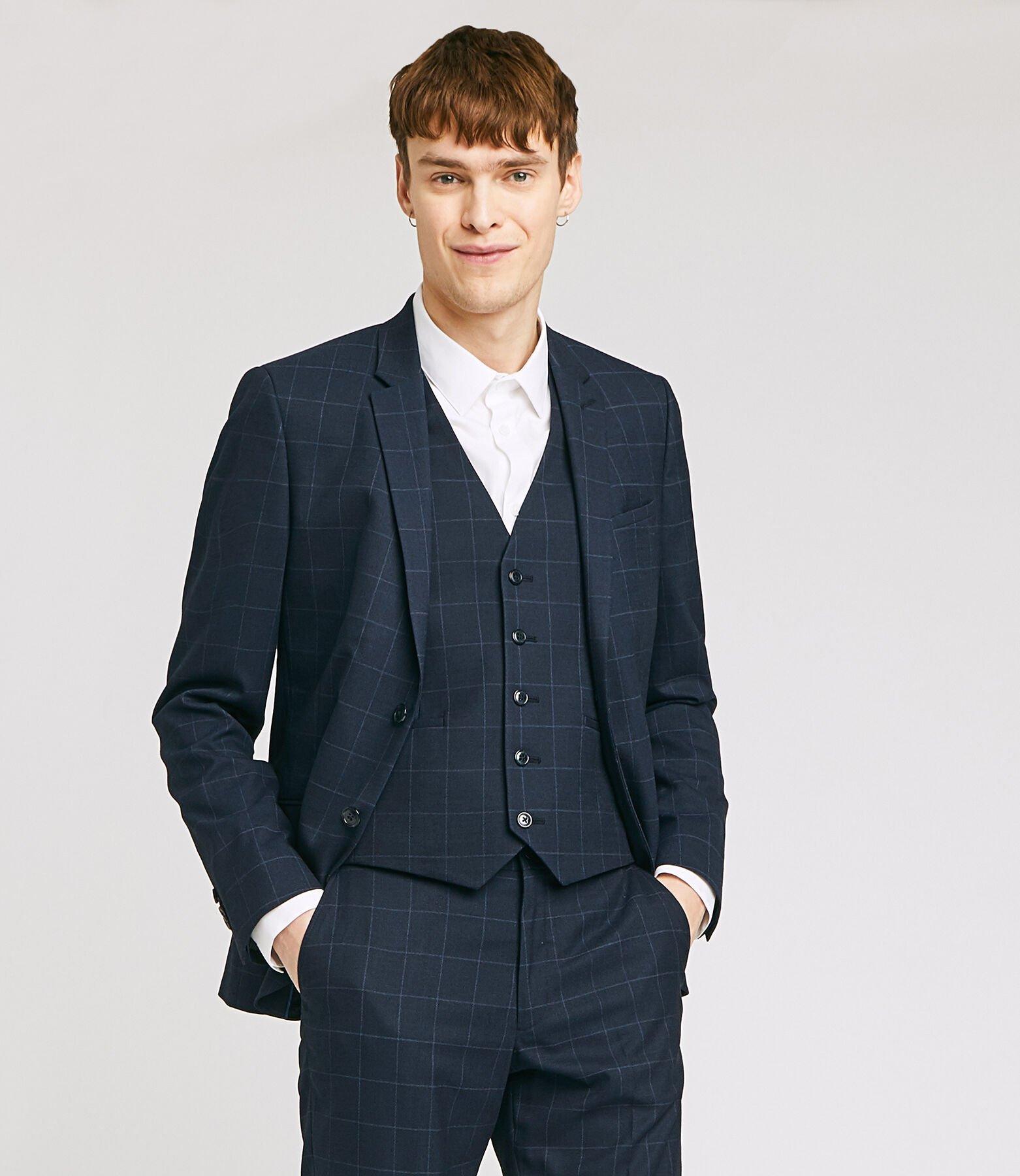 veste de costume slim motif carreaux fenêtre