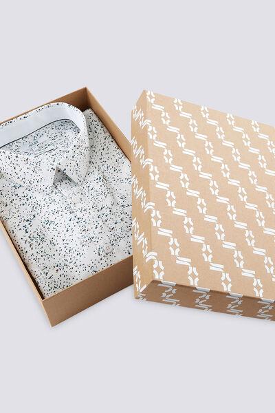 Chemise Slim motif fantaisie avec boite cadeau Noë