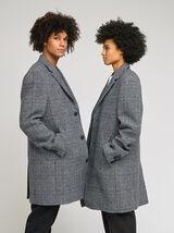 Manteau col tailleur à carreaux