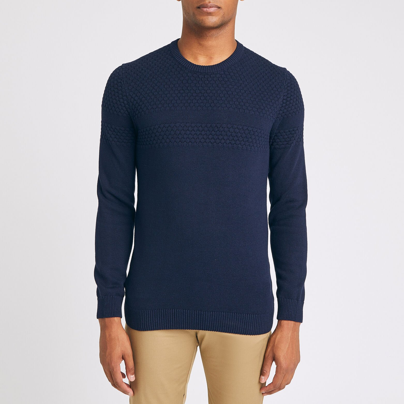 Pull col rond bandes maille fantaisie