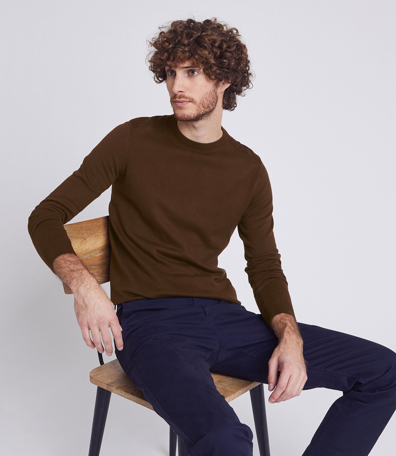 Pull col rond patchs velours
