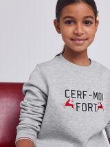 Sweat Noël Enfant CERF-MOI FORT