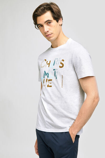 Tee-shirt print typo poitrine