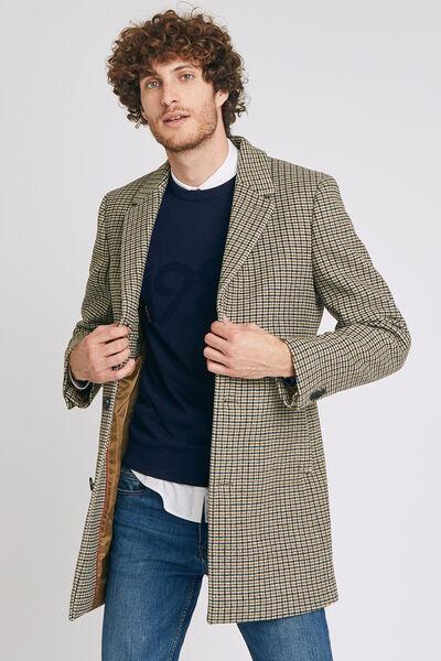 Manteau long à motif pied de poule - Beige