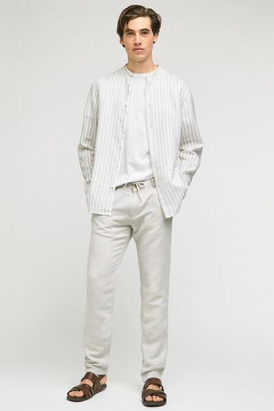 Pantalon chino coton lin uni