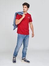 Tee-shirt col rond broderie poitrine