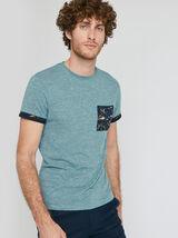 Tee shirt uni manches courtes détail imprimé oisea