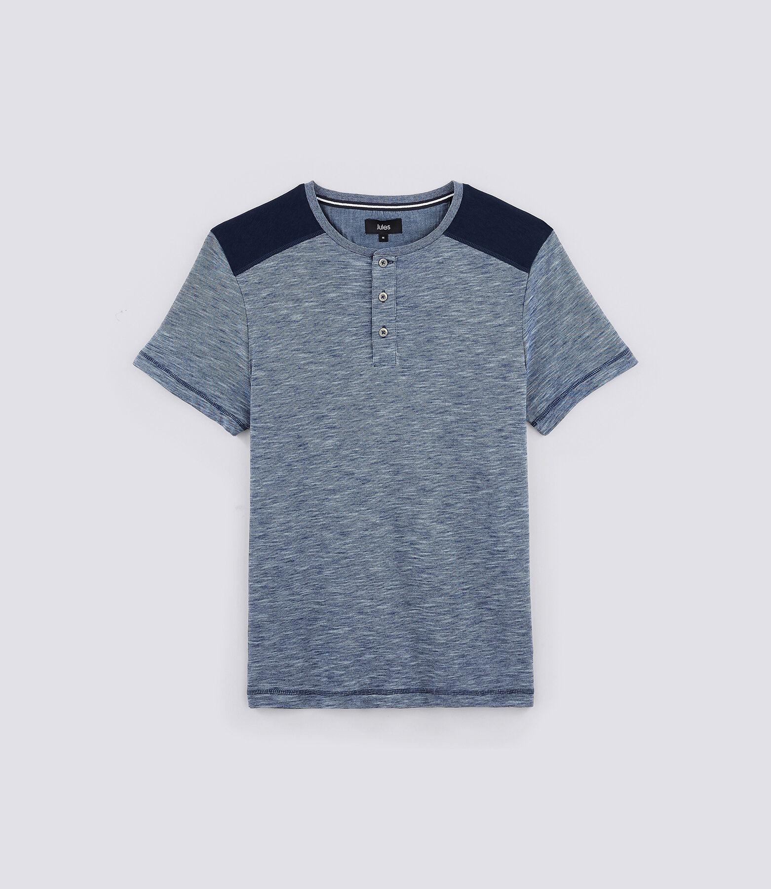 T-shirt col tunisien patchs épaules