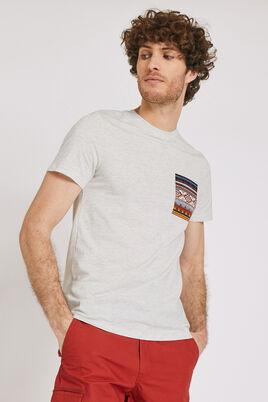 Tee shirt à col rond poche imprimée