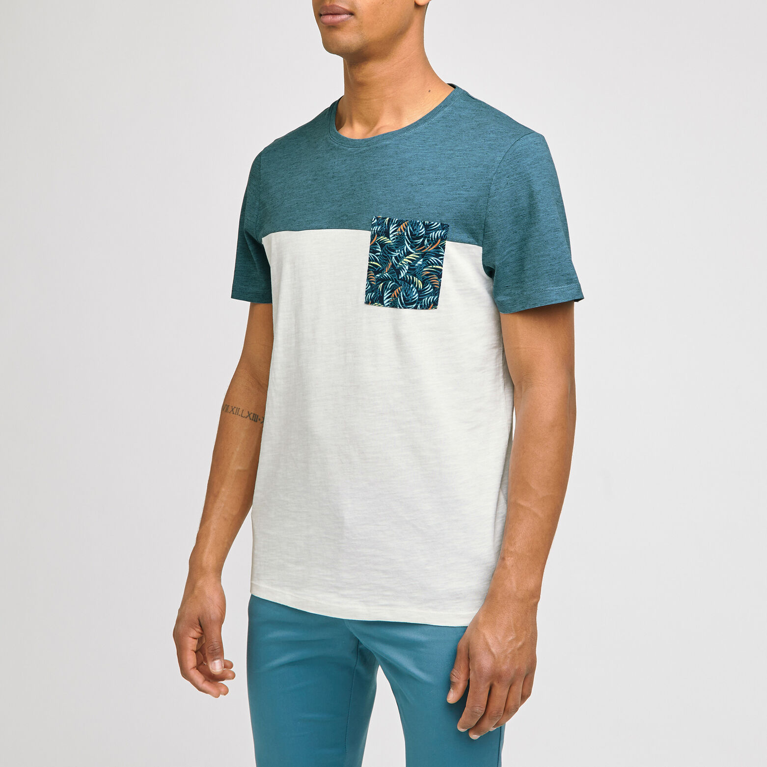 Tee-shirt colorblock en coton issu de l'agri bio