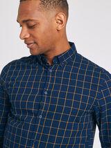 Chemise regular à carreaux twill coton