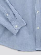Chemise slim à rayures col mao coton biologique