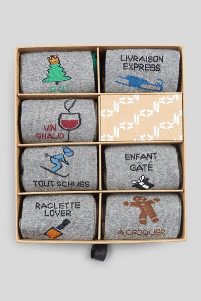 Kerstbox - set van 7 paar sokken