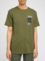 Tee-shirt print placé poitrine coton issu de l'agr