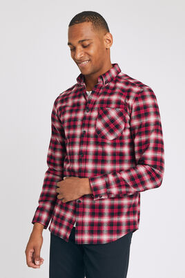 Chemise regular à carreaux et col pointe boutonnée