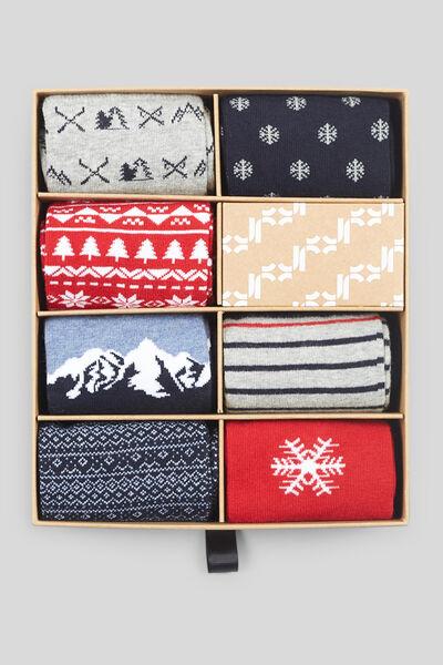 Kerstbox -set van 7 paar sokken met print