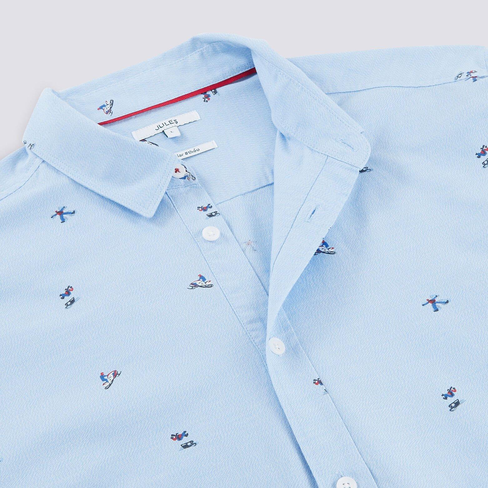 Chemise régular motif petits skieurs coton