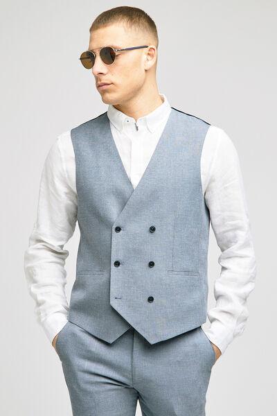 Gilet de costume lin double boutonnage