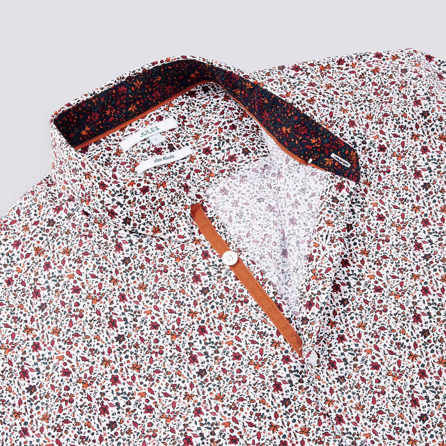 Chemise slim motif fleuri coton