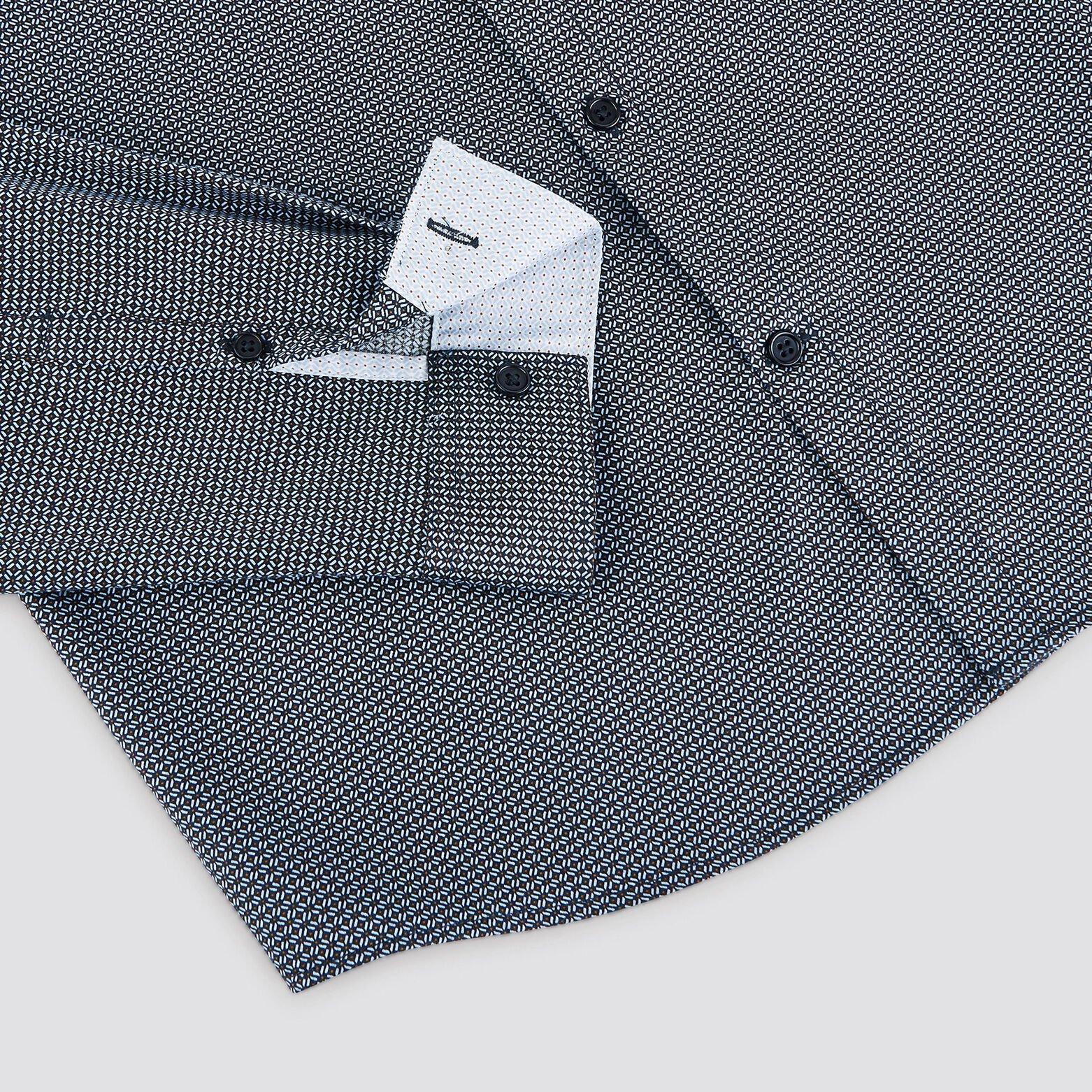Chemise slim imprimé micro-motif géométrique satin