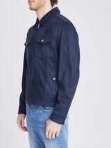 Blouson suédine col chemise - Bleu indigo & cognac