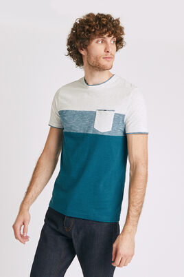 Tee shirt recyclé colorblock empiècement poche
