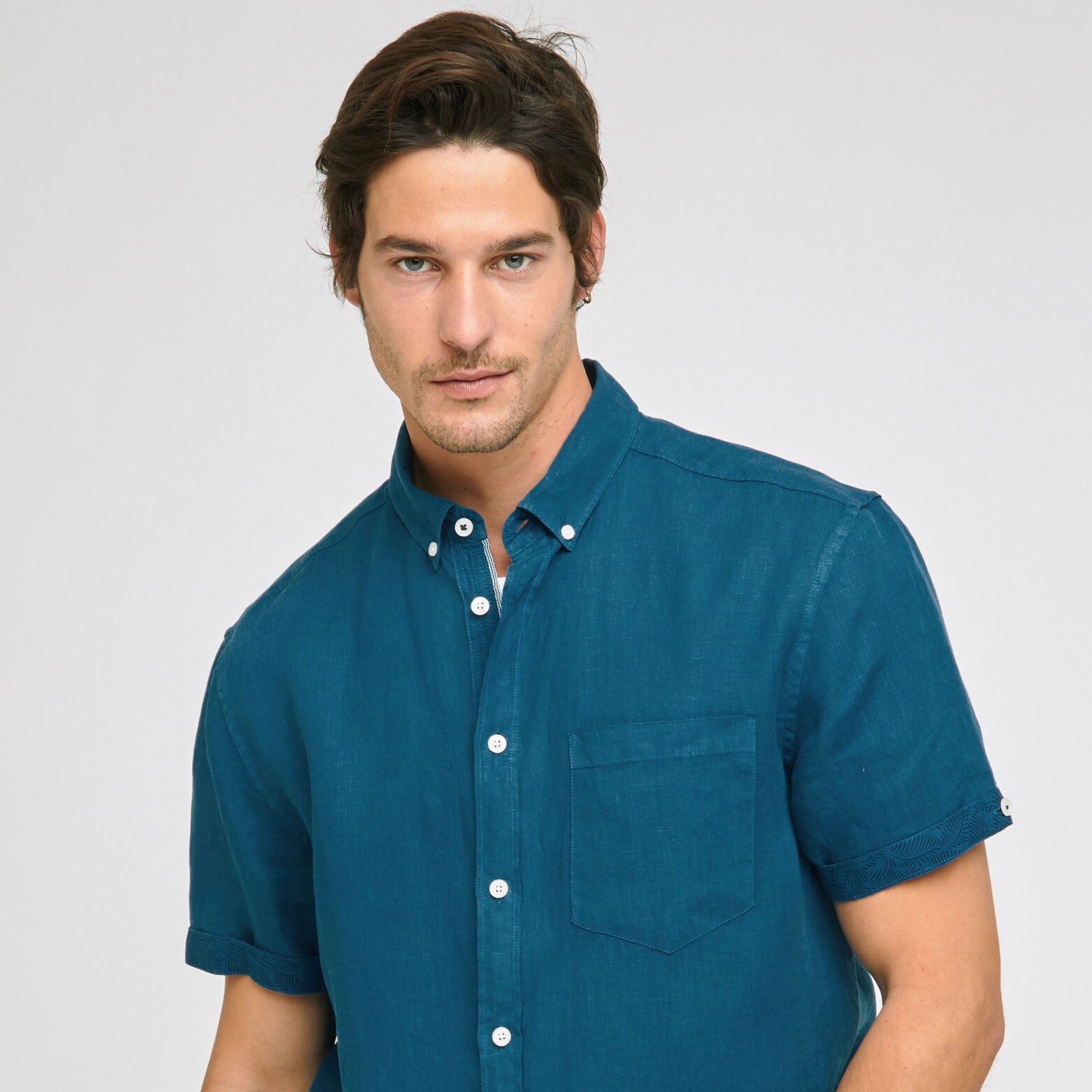 Chemise regular manches courtes lin