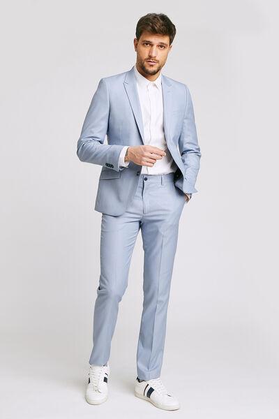 pantalon de costume slim matière reliefée stretch