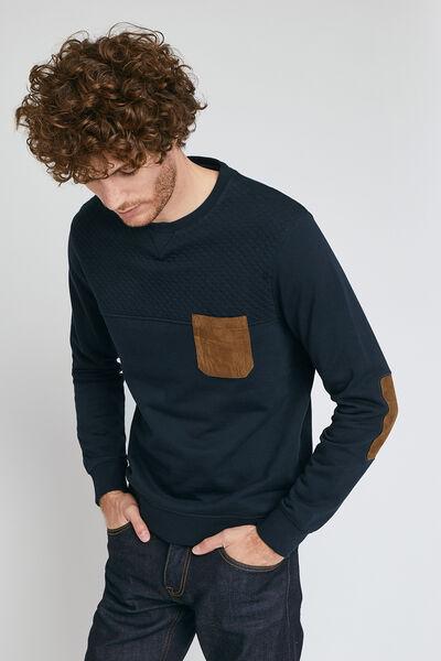 Sweatshirt ronde hals en zak in suèdine
