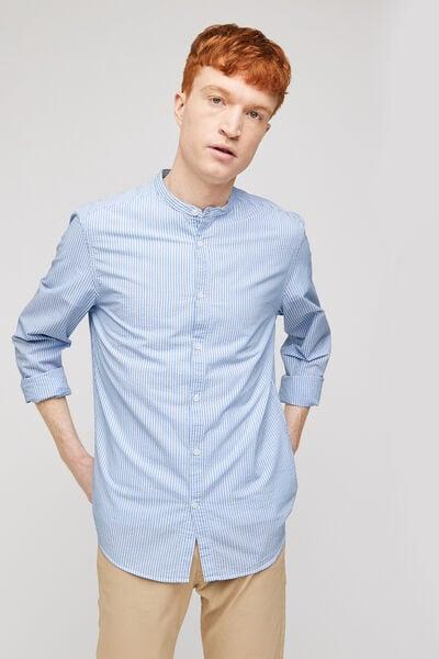 Chemise slim à rayures col mao coton