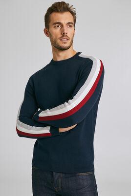 Trui in Milano-tricot met banden