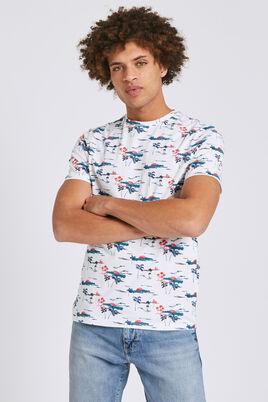 Tee shirt manches courtes imprimé all-over palmier