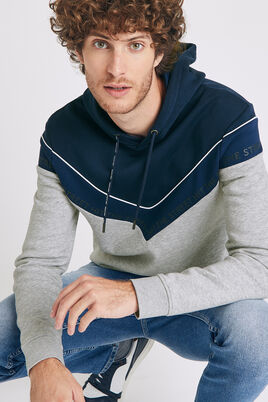 SWEATSHIRT COLOR BLOCK A CAPUCHE