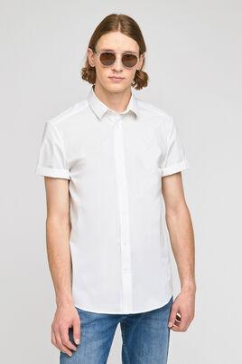 Effen slim hemd met korte mouwen
