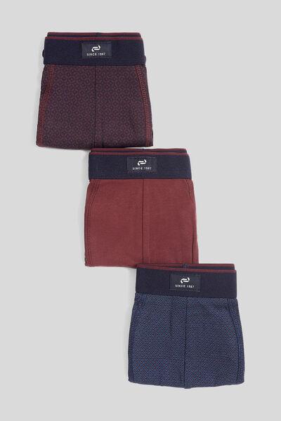 Lot de 3 boxers imprimés coton issu de l'agricultu
