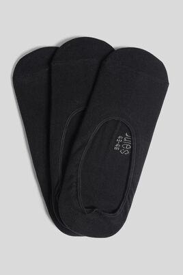 Set van 3 paar onzichtbare zwarte sokken