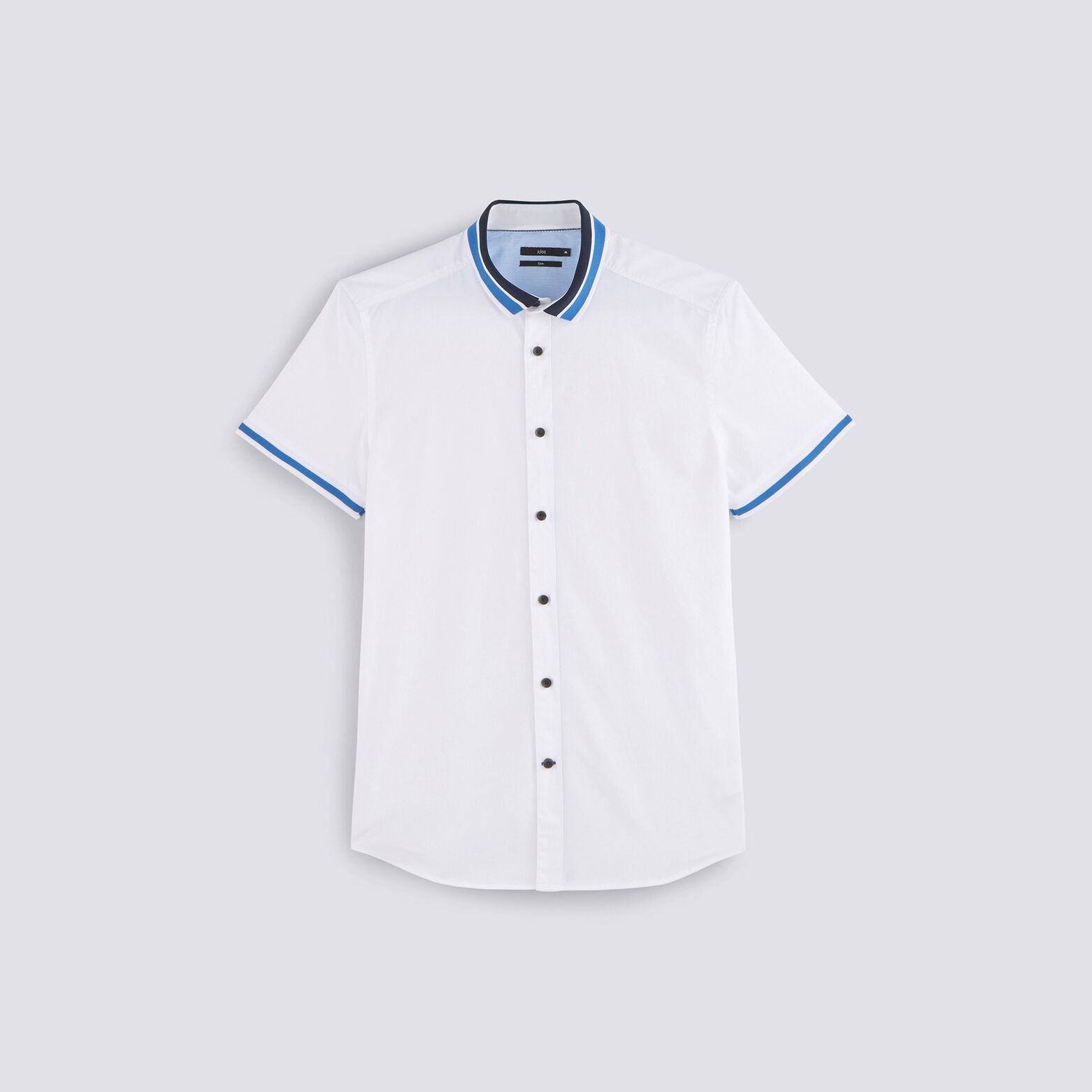 Chemise slim manches courtes col polo