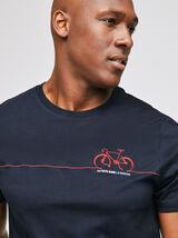 Tee-shirt broderie vélo en poitrine