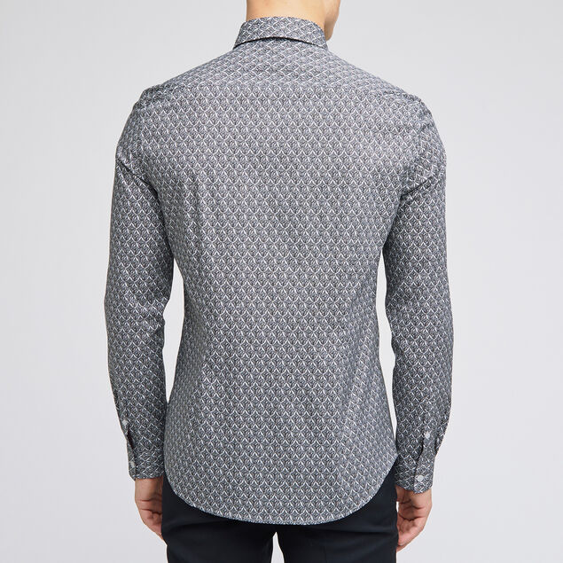 Chemise slim micro motifs coton