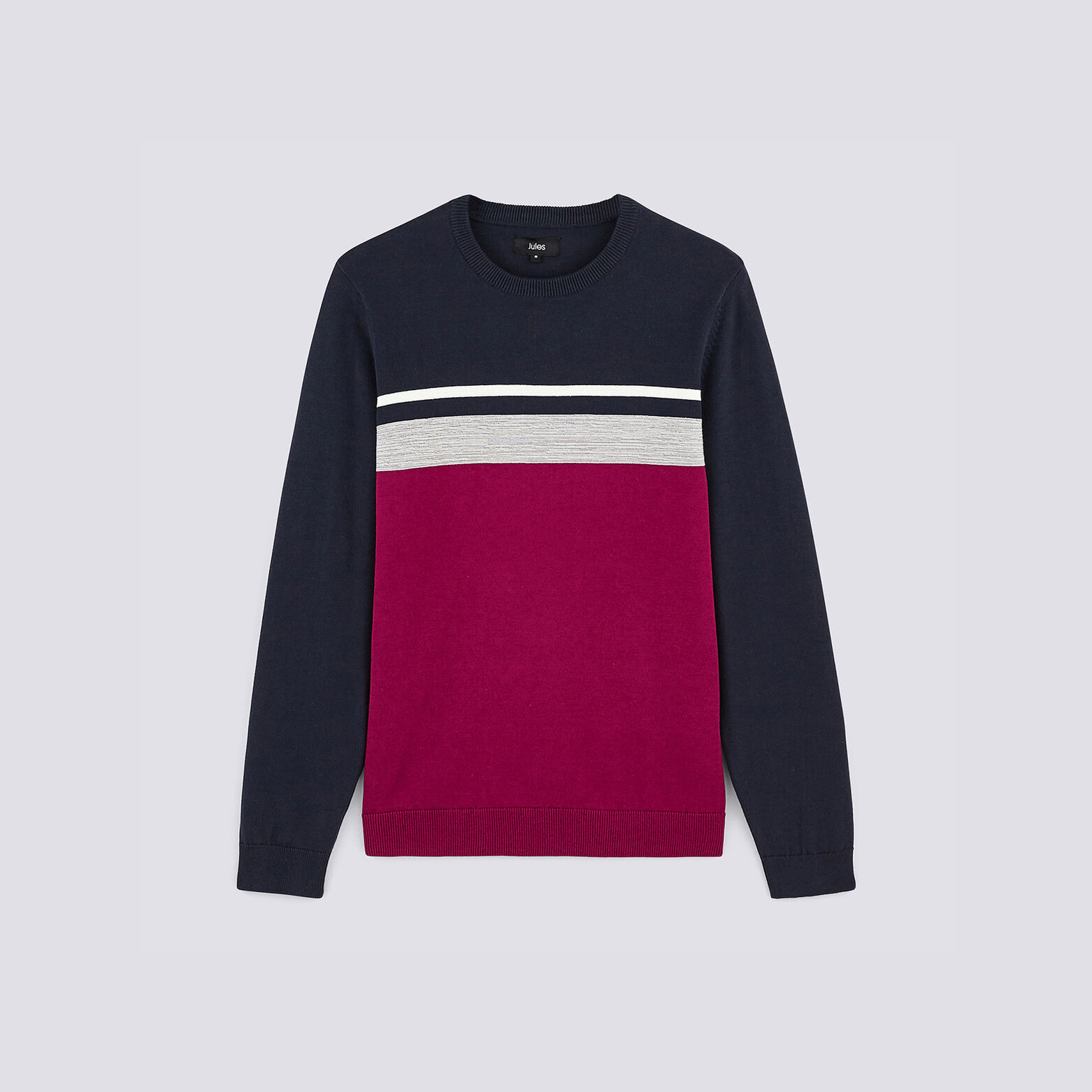 Pull col rond rayé maille fantaisie