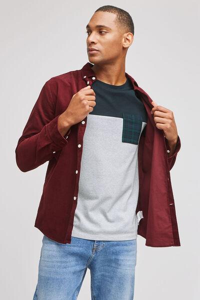 Tee-shirt color block poche imprimée contenant du
