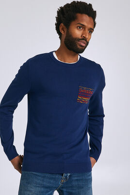 Jersey trui met zakje, Jacquard