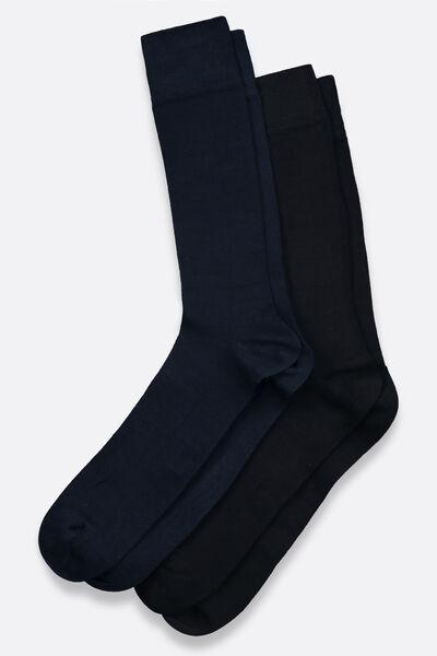 Lot de 2 paires chaussettes unies en coton