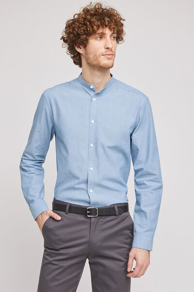 Chemise regular col mao chambray