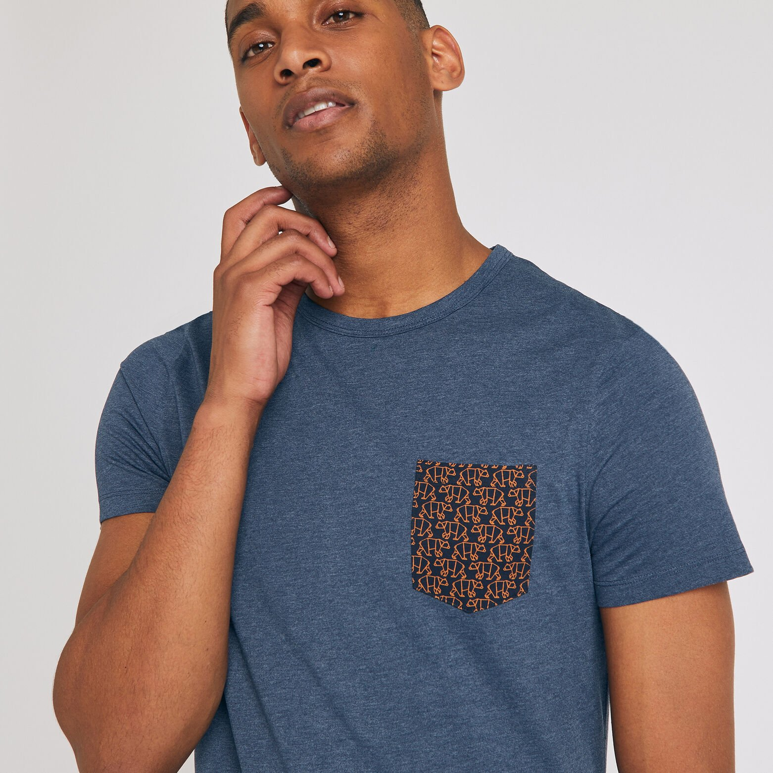 T-shirt pyjama col rond manches courtes motif ours